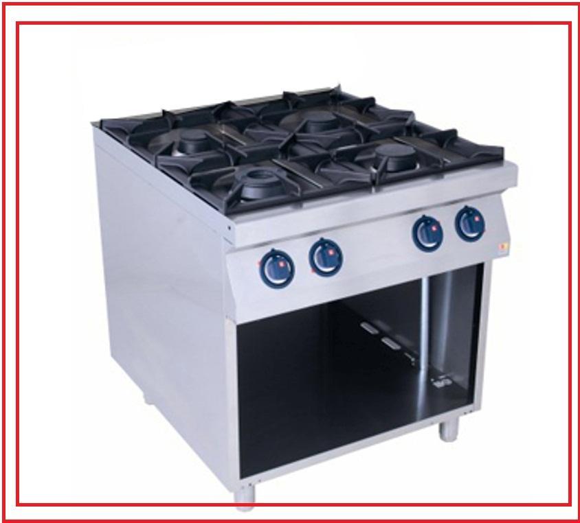 Характеристики: *плита газовая 4-х конфорочная на открытой/закрытой базе
