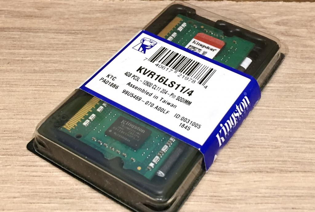 Оперативная память 4 Gb Kingston SODIMM DDR3L-1600 4096MB PC3L-12800 (KVR16LS11/4)